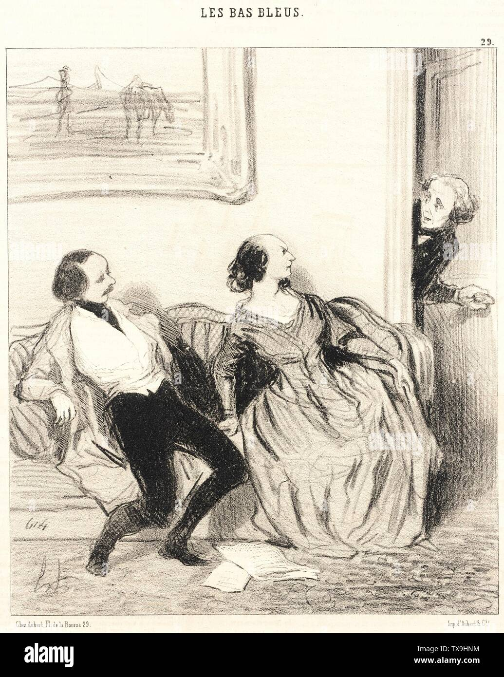 'Mon bonne amie, puis-je entrer!...; English:  France, 1844 Series: Les Bas-blues, no. 29 Periodical: Le Charivari, 30 May 1844 Prints; lithographs Lithograph Sheet: 9 1/16 x 7 13/16 in. (23.02 x 19.84 cm) Gift of Mrs. Florence Victor from The David and Florence Victor Collection (M.91.82.186) Prints and Drawings; 1844date QS:P571,+1844-00-00T00:00:00Z/9; ' - Stock Image