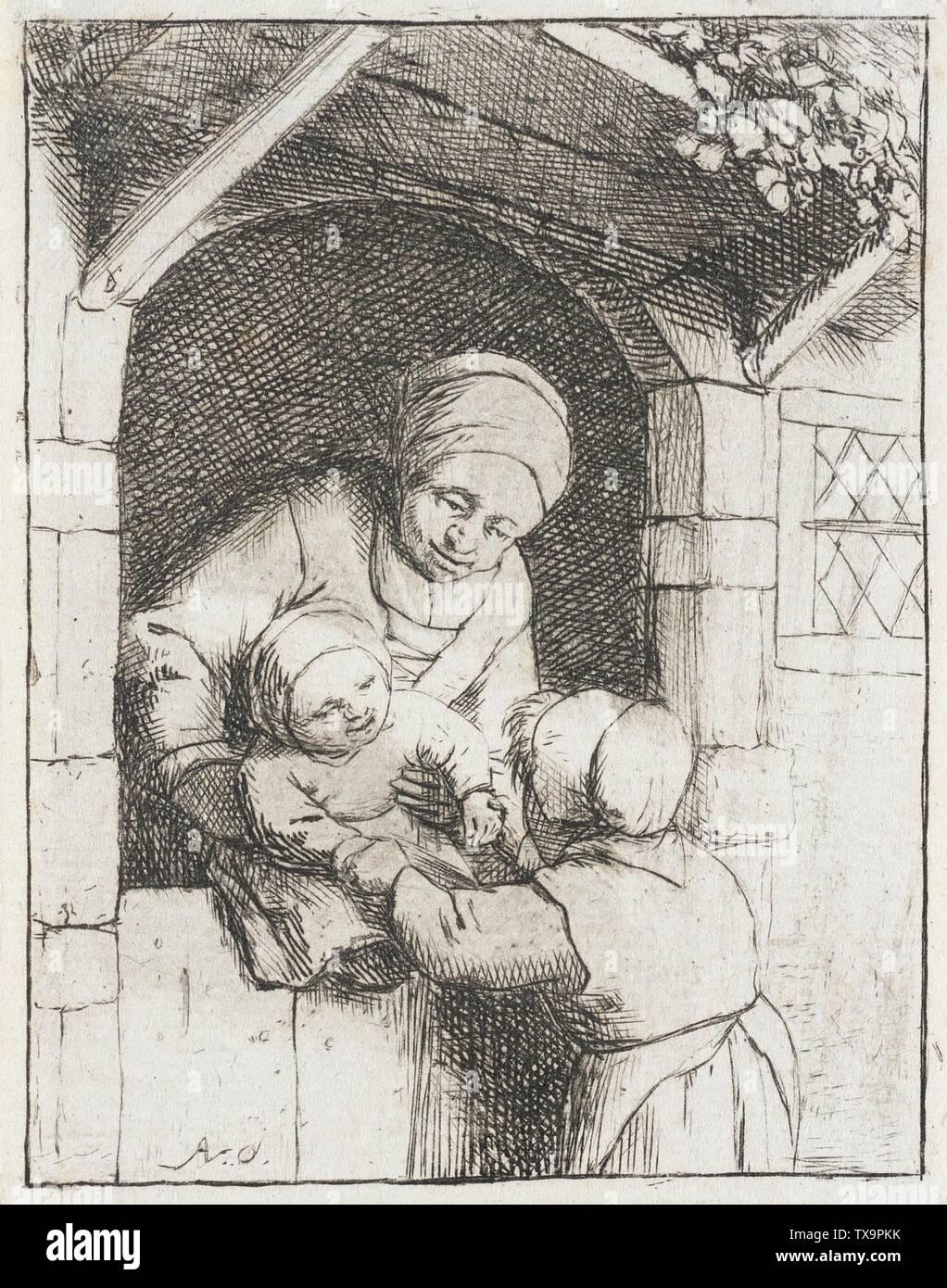 'Mother with Two Children; English:  Holland, 1675 (?) Alternate Title: La Fillette jouant avec un bébé dan les bras de sa mer Prints; etchings Etching Gift of Mrs. Mary B. Regan (31.21.95) Prints and Drawings; 1675 (?); ' - Stock Image