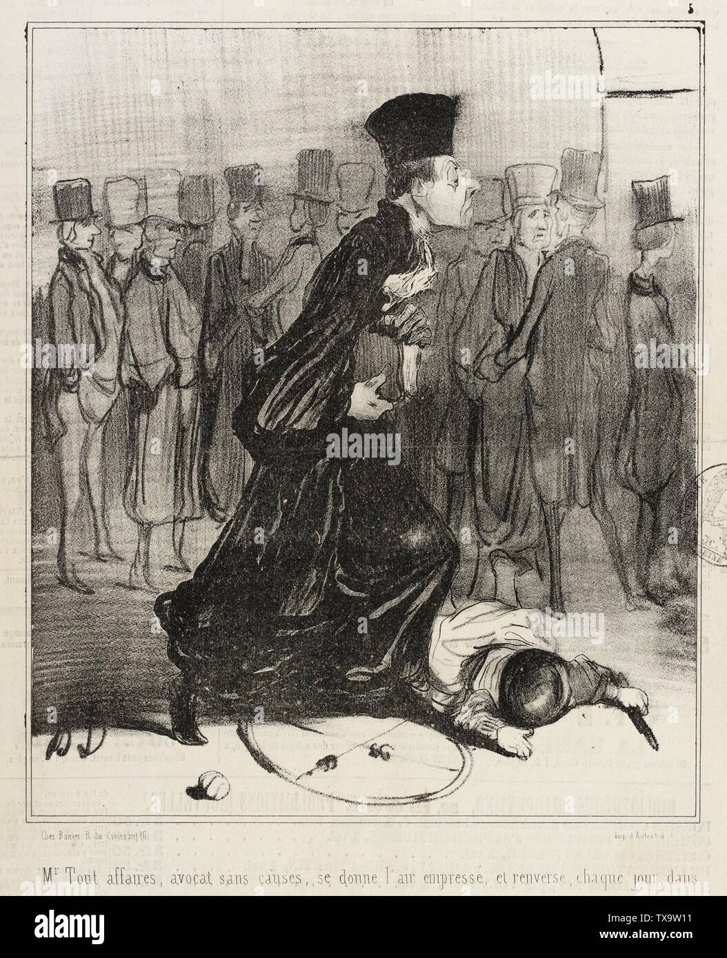 'Mr Tout affaires, avocat sans causes...; English:  France, 1840 Series: Les Parisiens Periodical: Le Charivari, 30 June 1840 Prints; lithographs Lithograph Format: 14 1/4 x 9 1/2 in. (36.2 x 24.13 cm); plate: 8 1/2 x 8 in. (21.59 x 20.32 cm) Gift of David Rose in memory of Ida Rose (AC1992.169.1) Prints and Drawings; 1840date QS:P571,+1840-00-00T00:00:00Z/9; ' - Stock Image