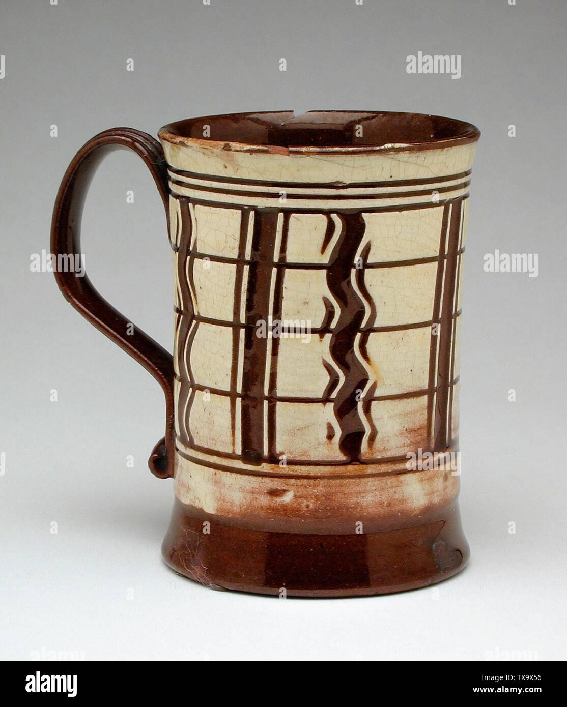 'Mug; English:  England, circa 1740 Furnishings; Serviceware Earthenware (slipware) Decorative Arts Council Fund (M.89.124) Decorative Arts and Design; circa 1740 date QS:P571,+1740-00-00T00:00:00Z/9,P1480,Q5727902; ' - Stock Image