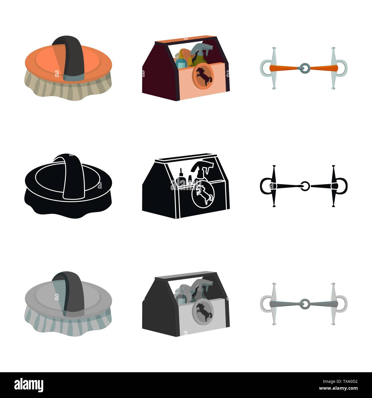 Vector design of equipment and riding icon. Collection of equipment and competition stock symbol for web. - Stock Vector