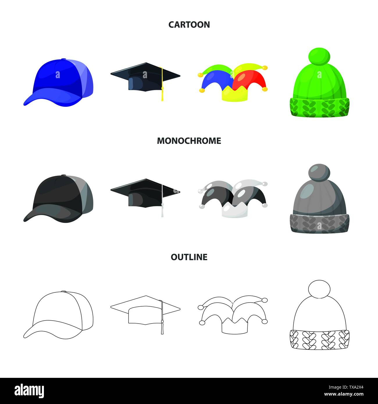 Isolated object of clothing and cap logo. Set of clothing and beret vector icon for stock. - Stock Vector