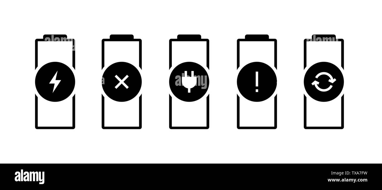 Battery charge indicator status icon set  Gadgets