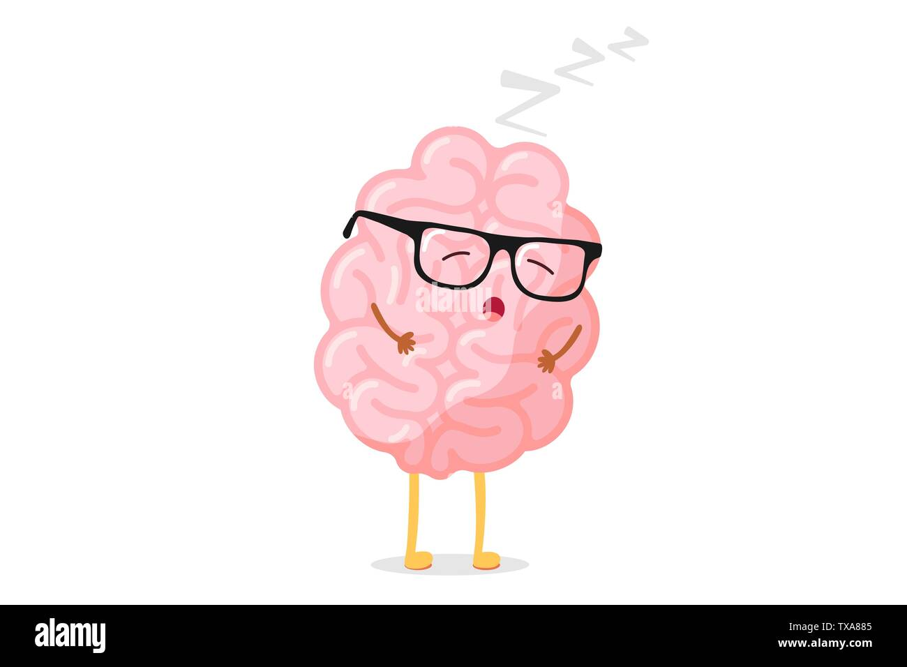 Cute cartoon smart human brain with glasses relaxation. Central nervous system sleeping organ funny vector illustration - Stock Image