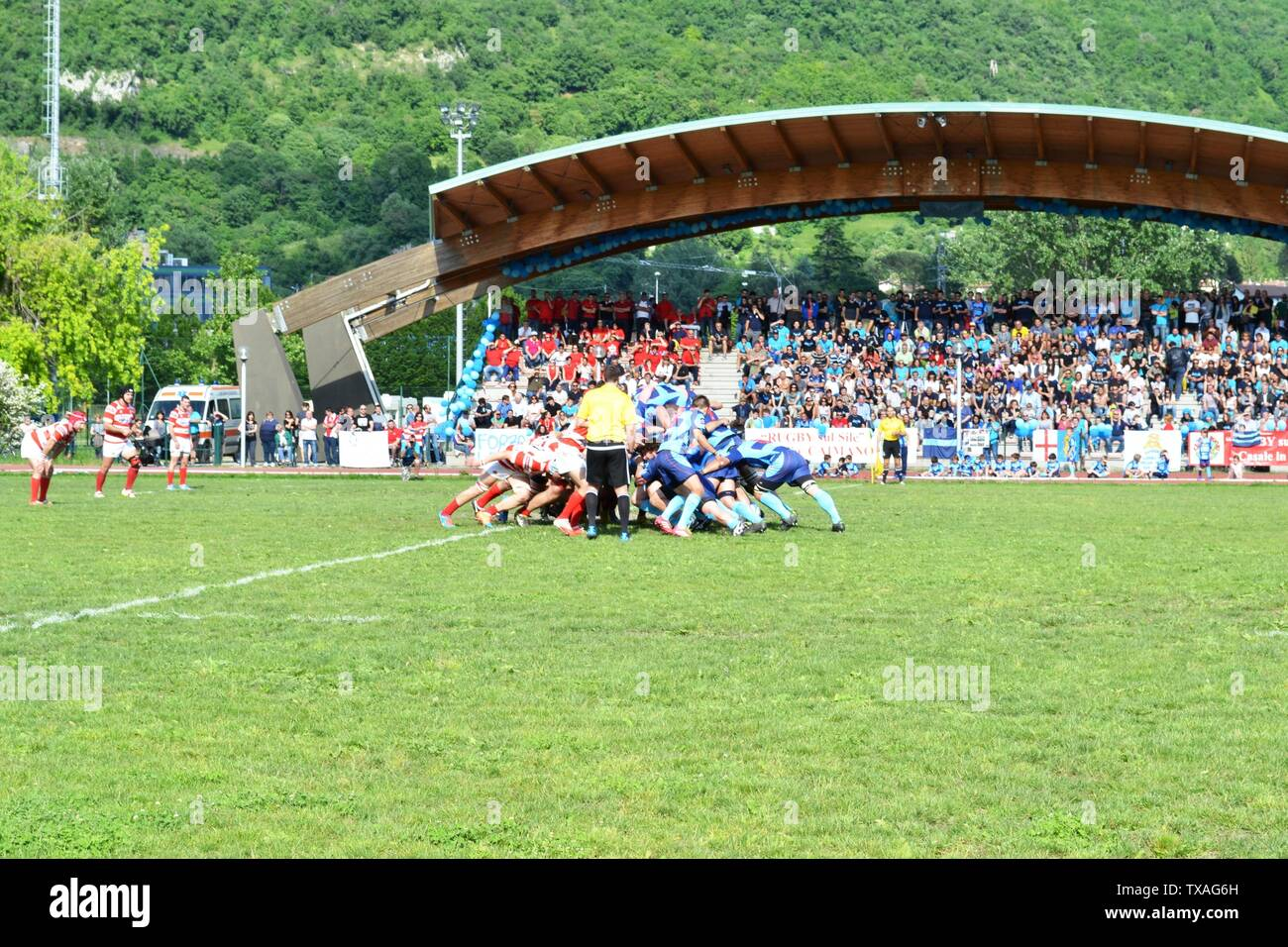 Lecco/Italy - May 24, 2015: Start of the rugby match between Rugby Lecco and ASD Rugby Casale on the sports field Bione of Lecco. Stock Photo