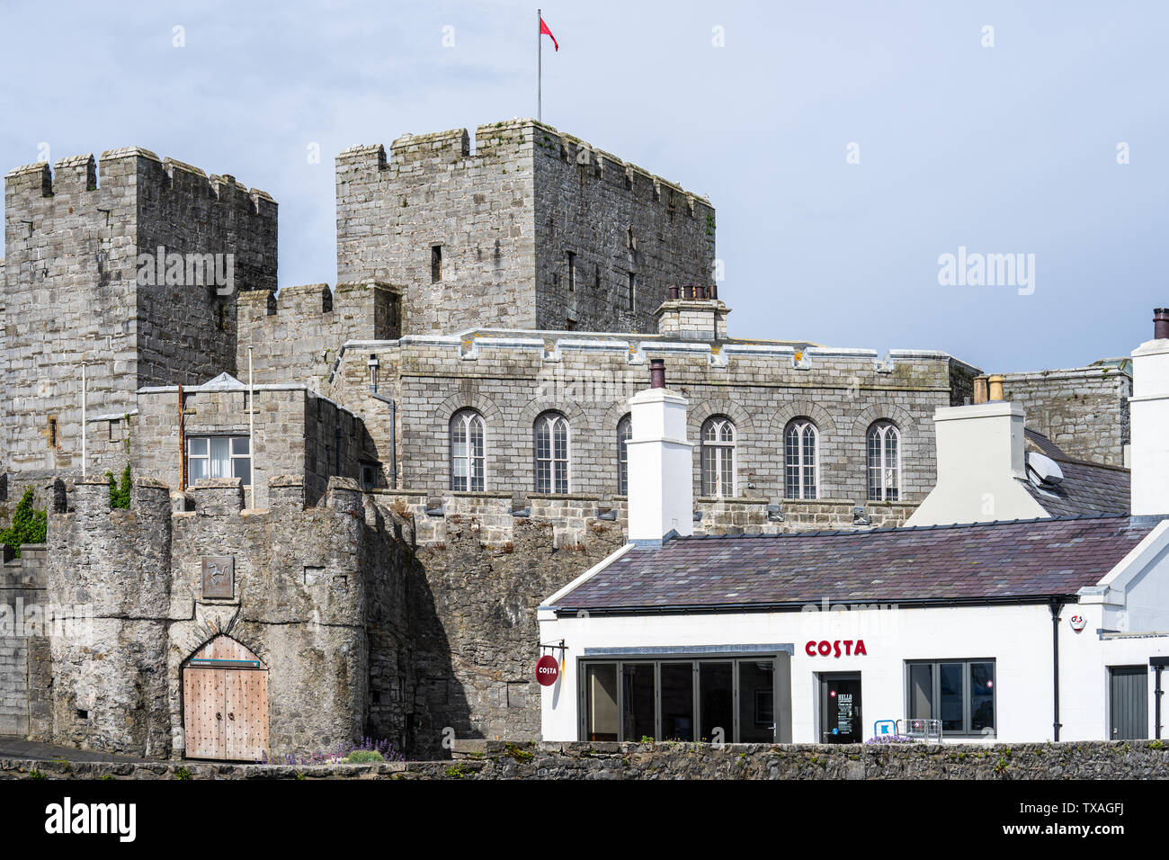 Castletown,Isle of Man, June 16, 2019. Castle Rushen is a medieval castle located in the Isle of Man's historic capital, Castletown, in the south of Stock Photo