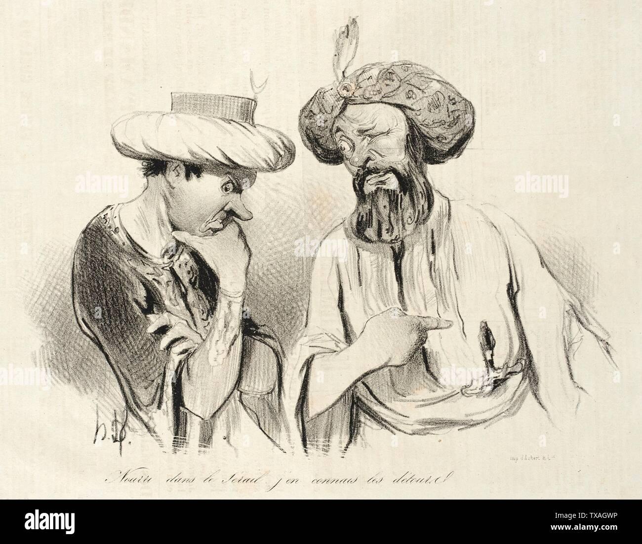 'Nourri dans le sérail, j'en connais les détours (Bajaset); English:  France, 1841 Series: Physionomies tragico-classiques Periodical: Le Charivari, 12, 13, 15 April 1841 Prints; lithographs Lithograph Gift of Mr. and Mrs. Stanley Talpis (54.71.73) Prints and Drawings; 1841date QS:P571,+1841-00-00T00:00:00Z/9; ' - Stock Image