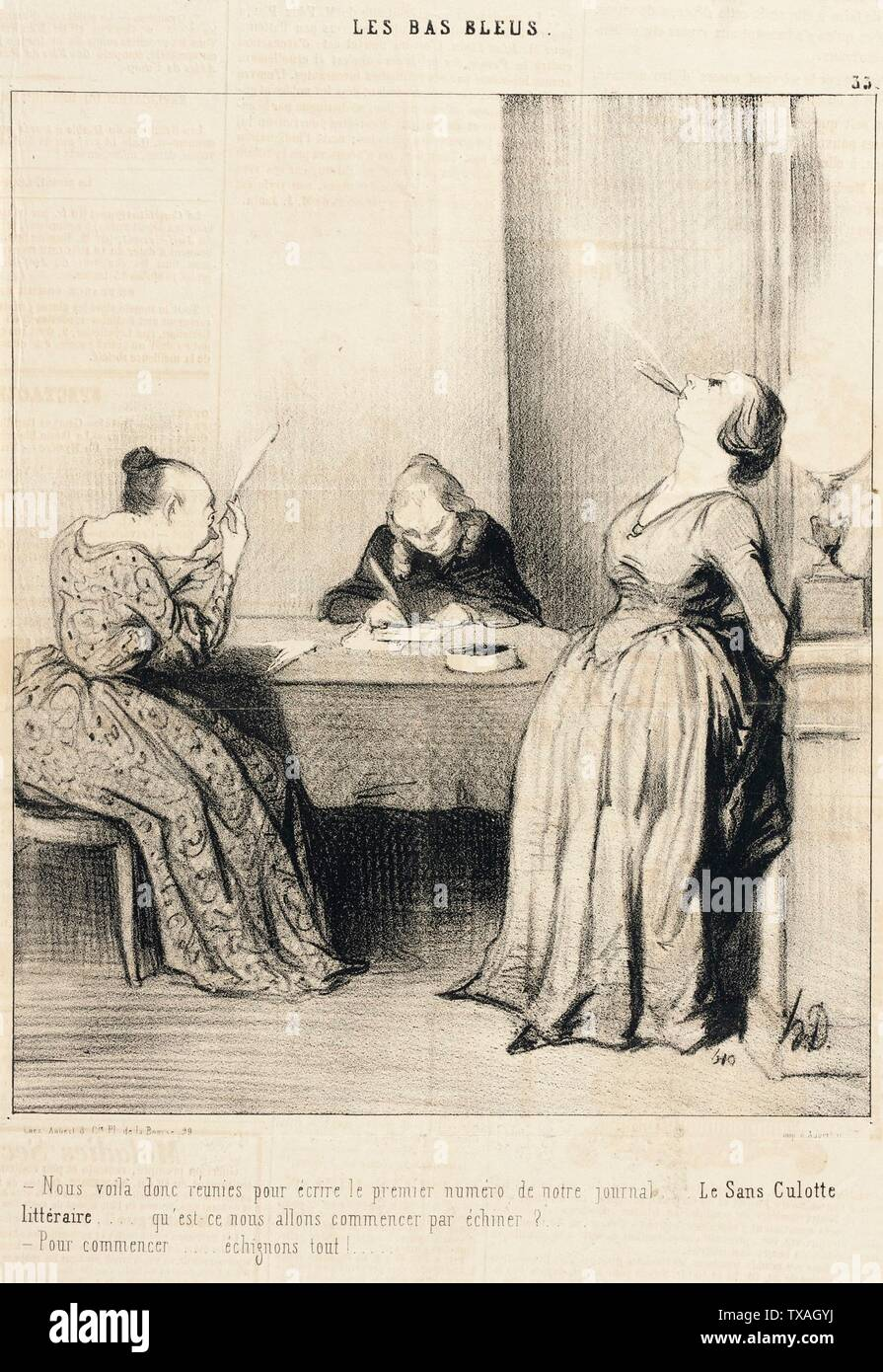 'Nous voilà...réunies pour écrire le premier numéro...; English:  France, 1844 Series: Les Bas-blues, no. 33 Periodical: Le Charivari, 14 July 1844 Prints; lithographs Lithograph Sheet: 8 3/4 x 7 5/16 in. (22.23 x 18.57 cm) Gift of Mrs. Florence Victor from The David and Florence Victor Collection (M.91.82.190) Prints and Drawings; 1844date QS:P571,+1844-00-00T00:00:00Z/9; ' - Stock Image
