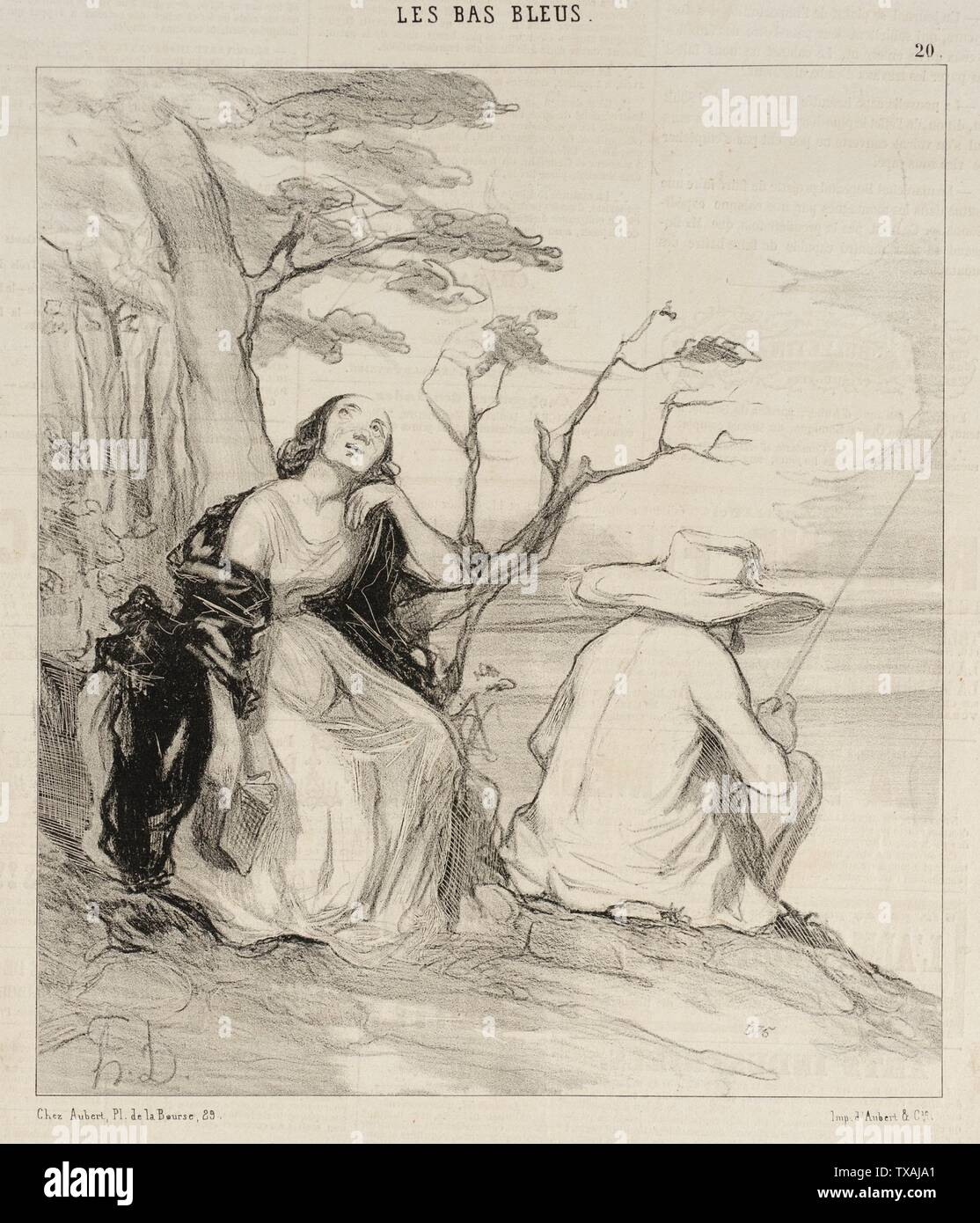 'O douleur!...avoir rêvé...un époux...; English:  France, 1844 Series: Les Bas-blues, no. 20 Periodical: Le Charivari, 27 March 1844 Prints; lithographs Lithograph Sheet: 9 7/8 x 7 15/16 in. (25.08 x 20.16 cm) Gift of Mrs. Florence Victor from The David and Florence Victor Collection (M.91.82.178) Prints and Drawings; 1844date QS:P571,+1844-00-00T00:00:00Z/9; ' - Stock Image