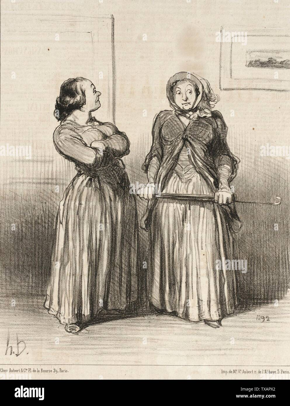 'On dit que les jolies femmes sont...demandées...; English:  France, 1851 Series: Actualités Periodical: Le Charivari, 2 October 1851 Prints; lithographs Lithograph Sheet: 9 5/8 x 7 3/4 in. (24.45 x 19.69 cm) Gift of Mrs. Florence Victor from The David and Florence Victor Collection (M.91.82.239) Prints and Drawings; 1851date QS:P571,+1851-00-00T00:00:00Z/9; ' - Stock Image