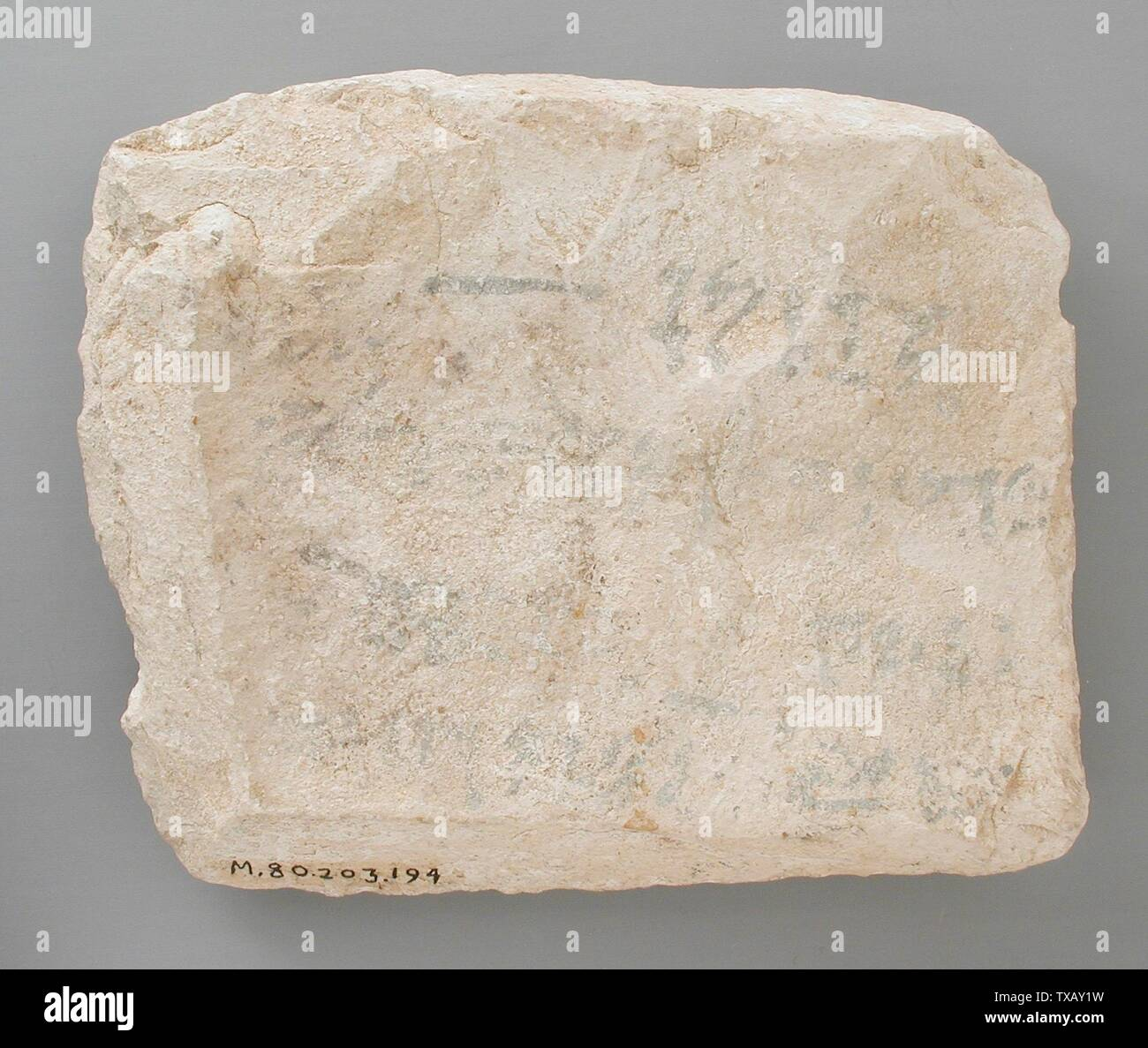'Ostracon Inscribed on Both Sides with a Letter (image 1 of 2); Egypt, New Kingdom, 19th Dynasty (1315 - 1201 BCE) Tools and Equipment; ostraka Limestone 5 1/8 x 5 11/16 in.  (13 x 14.5 cm) Gift of Carl W. Thomas (M.80.203.194) Egyptian Art; 19th Dynasty (1315 - 1201 BCE); ' - Stock Image