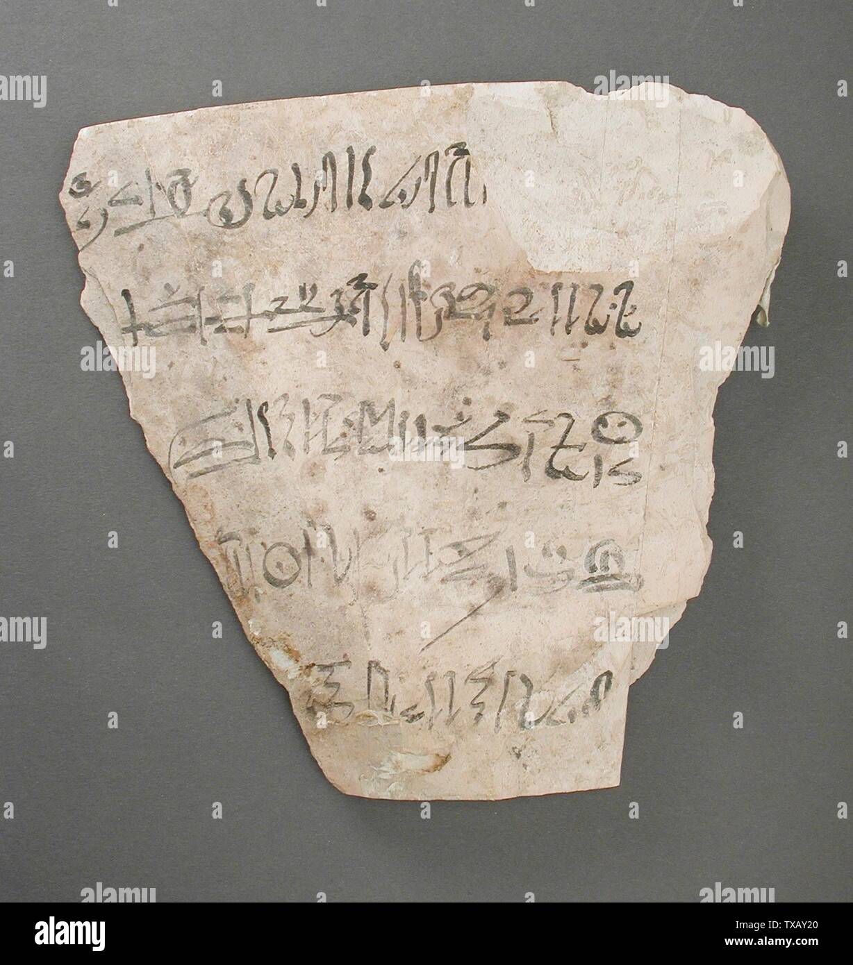 'Ostracon Inscribed with a Letter to the Vizier; Egypt, New Kingdom, 19th and 20th Dynasty (1315 - 1081 BCE) Tools and Equipment; ostraka Limestone 7 1/16 x 7 5/16 in.  (18 x 18.5 cm) Gift of Carl W. Thomas (M.80.203.210) Egyptian Art; 19th and 20th Dynasty (1315 - 1081 BCE); ' - Stock Image