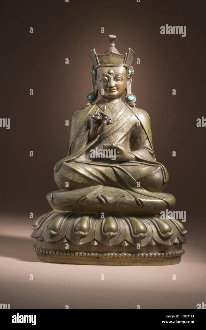 'Padmasambhava (Guru Rinpoche, 8th century) (image 1 of 6); English:  Central Tibet, Tsang Valley, 15th-16th century Sculpture Copper alloy with incised decoration and inlaid with turquoise 9 1/2 x 7 x 4 1/4 in. (24.13 x 17.78 x 10.8 cm) Gift of the James and Paula Coburn Foundation (M.2005.154.7) South and Southeast Asian Art; 15th-16th century; ' - Stock Image