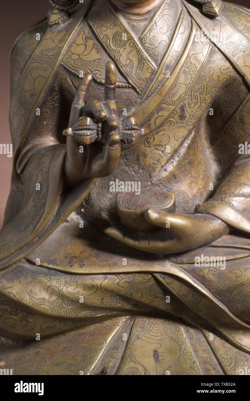 'Padmasambhava (Guru Rinpoche, 8th century) (image 6 of 6); English:  Central Tibet, Tsang Valley, 15th-16th century Sculpture Copper alloy with incised decoration and inlaid with turquoise 9 1/2 x 7 x 4 1/4 in. (24.13 x 17.78 x 10.8 cm) Gift of the James and Paula Coburn Foundation (M.2005.154.7) South and Southeast Asian Art; 15th-16th century; ' - Stock Image
