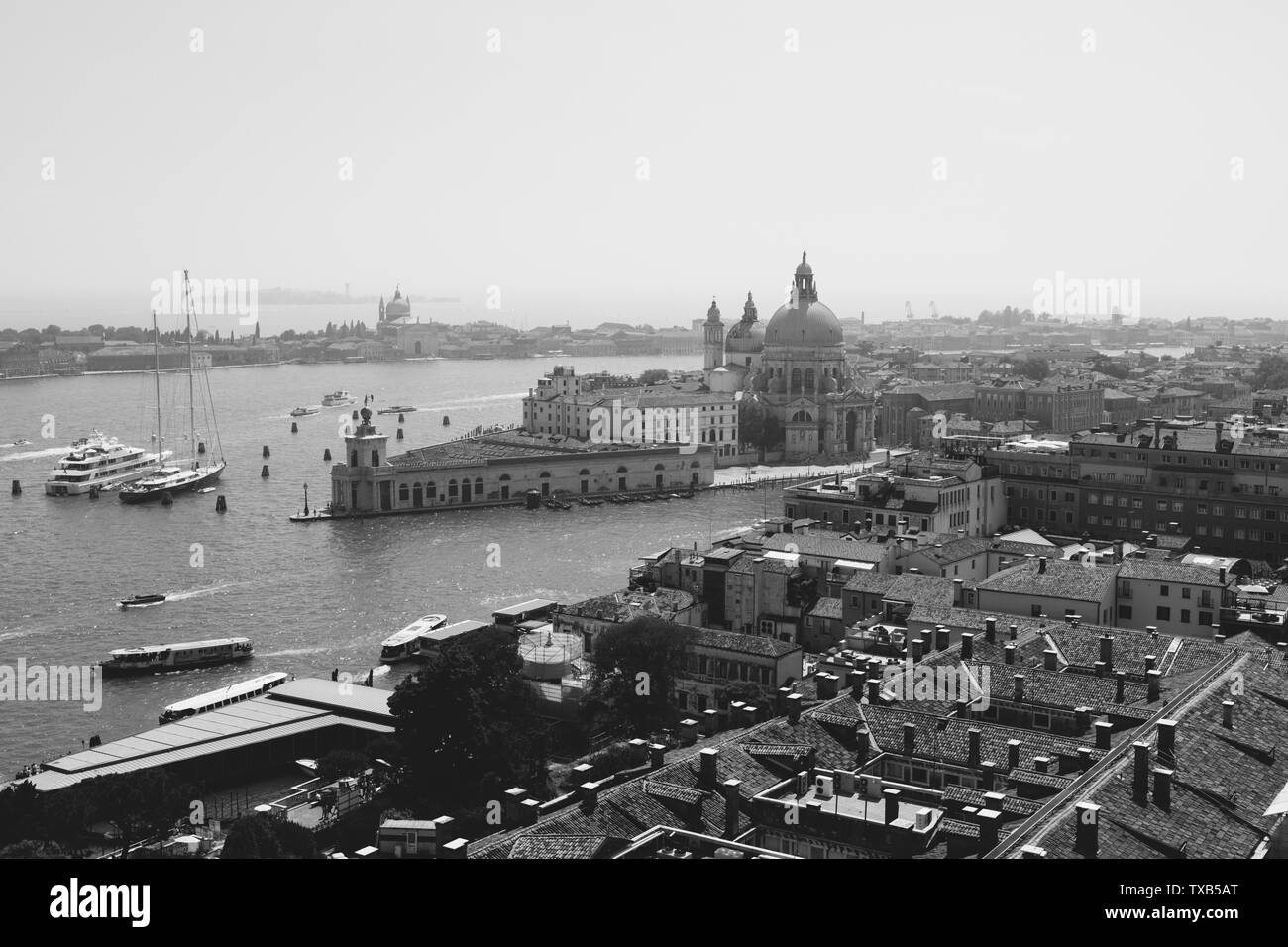 Panoramic view of Venice city and away Basilica di Santa Maria della Salute (Saint Mary of Healt) from St Mark's Campanile (Campanile di San Marco). L - Stock Image