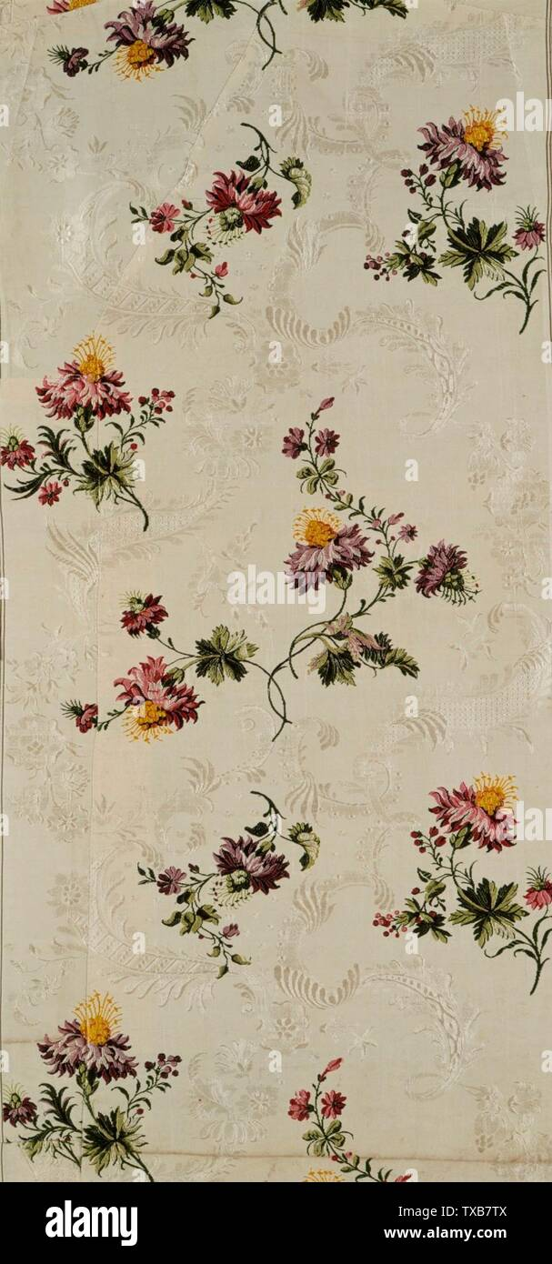 'Panel With Design of Meandering Floral Vines; English:  England, Spitalfield, circa 1740 Textiles; panels Silk brocade Costume Council Fund (M.81.69.2) Costume and Textiles; circa 1740 date QS:P571,+1740-00-00T00:00:00Z/9,P1480,Q5727902; ' - Stock Image