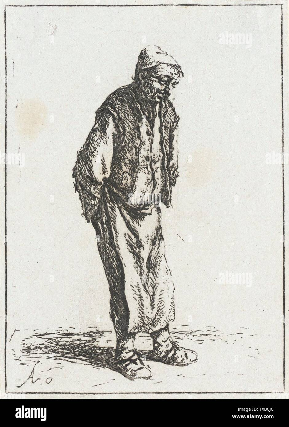 'Peasant with His Hands Behind His Back; English:  Holland, 1640 (?) Alternate Title: Le Paysan debout les mains derrière le dos Prints; etchings Etching Gift of Mrs. Mary B. Regan (31.21.91) Prints and Drawings; 1640 (?); ' - Stock Image