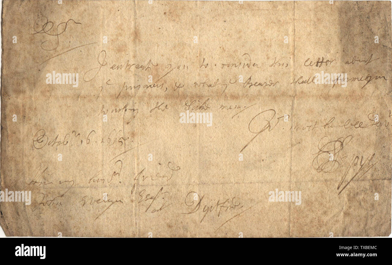 'English: Author: Guy de la Bedoyere. Letter by en:Samuel Pepys to en:John Evelyn, 16 October 1665 Text reads: I entreat you to consider this letter about/  ye prisoners, & what ye Bearer shall inform  you/ touching the sicke men./ Yr. most humble servt./  S. Pepys; 16 May 2007 (original upload date); Transferred from en.wikipedia to Commons by Ycdkwm.; Bedoyere at English Wikipedia; ' - Stock Image
