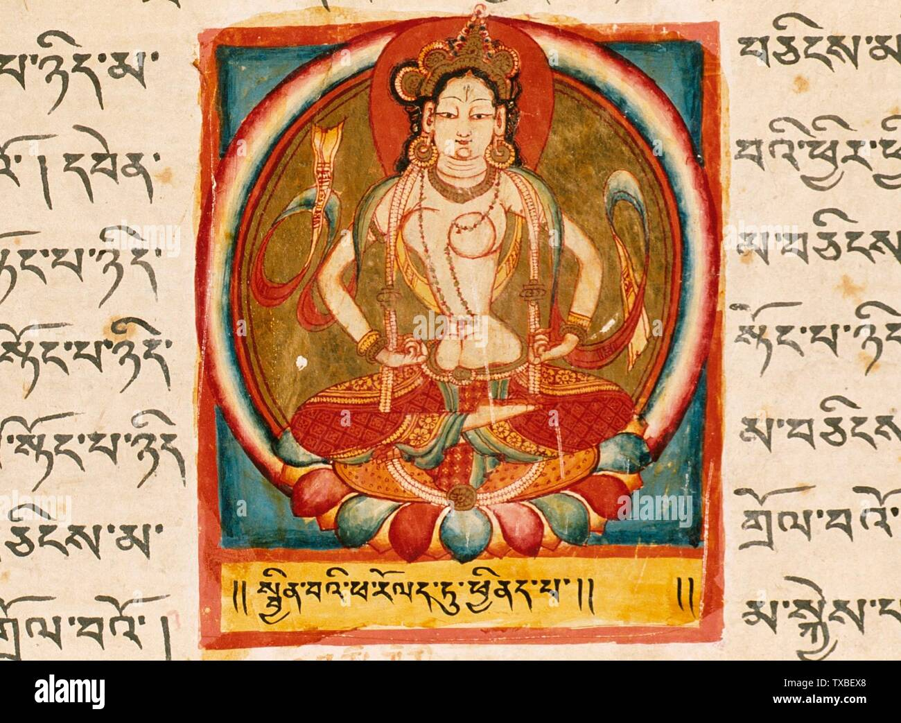 'Perfection of Charity, Folio from a Shatasahasrika Prajnaparamita (The Perfection of Wisdom in 100,000 Verses); English:  Western Tibet, Maryul district, Tholing Monastery, 11th century Manuscripts Ink, opaque watercolor, and gold on paper From the Nasli and Alice Heeramaneck Collection, purchased with funds provided by the Jane and Justin Dart Foundation (M.81.90.10) South and Southeast Asian Art; 11th century date QS:P571,+1050-00-00T00:00:00Z/7; ' - Stock Image