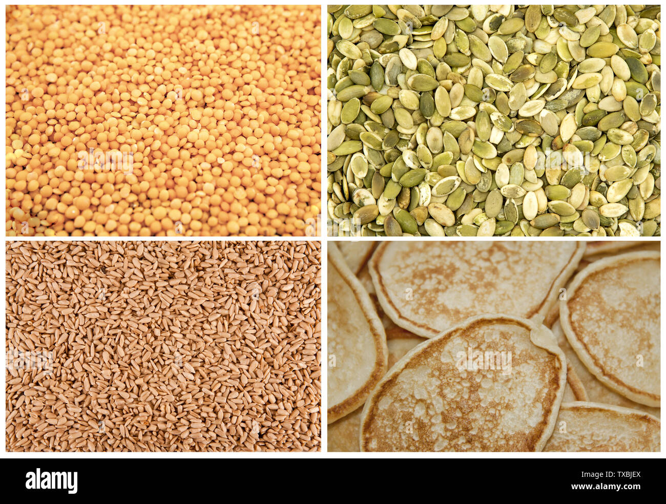 Set of food background texture: pumpkin seeds, quinoa, pancakes Stock Photo