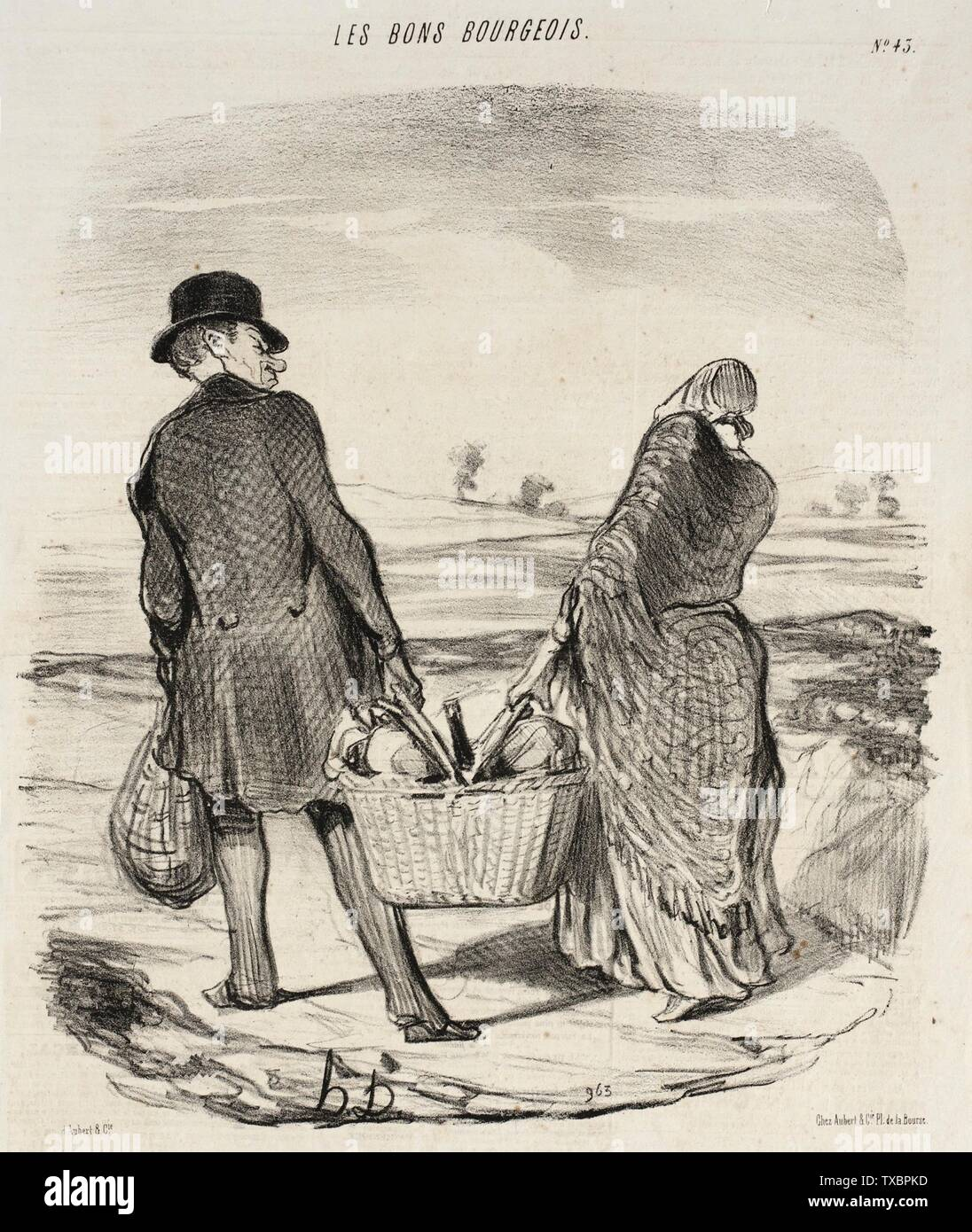 'Plus souvent que tu m'attraperas encore à satisfaire ta fantasie...; English:  France, 1847 Series: Les Bons bourgeois, no. 43 Periodical: Le Charivari, 8 May 1847 Prints; lithographs Lithograph Gift of Mr. and Mrs. Stanley Talpis (54.71.119) Prints and Drawings; 1847date QS:P571,+1847-00-00T00:00:00Z/9; ' - Stock Image