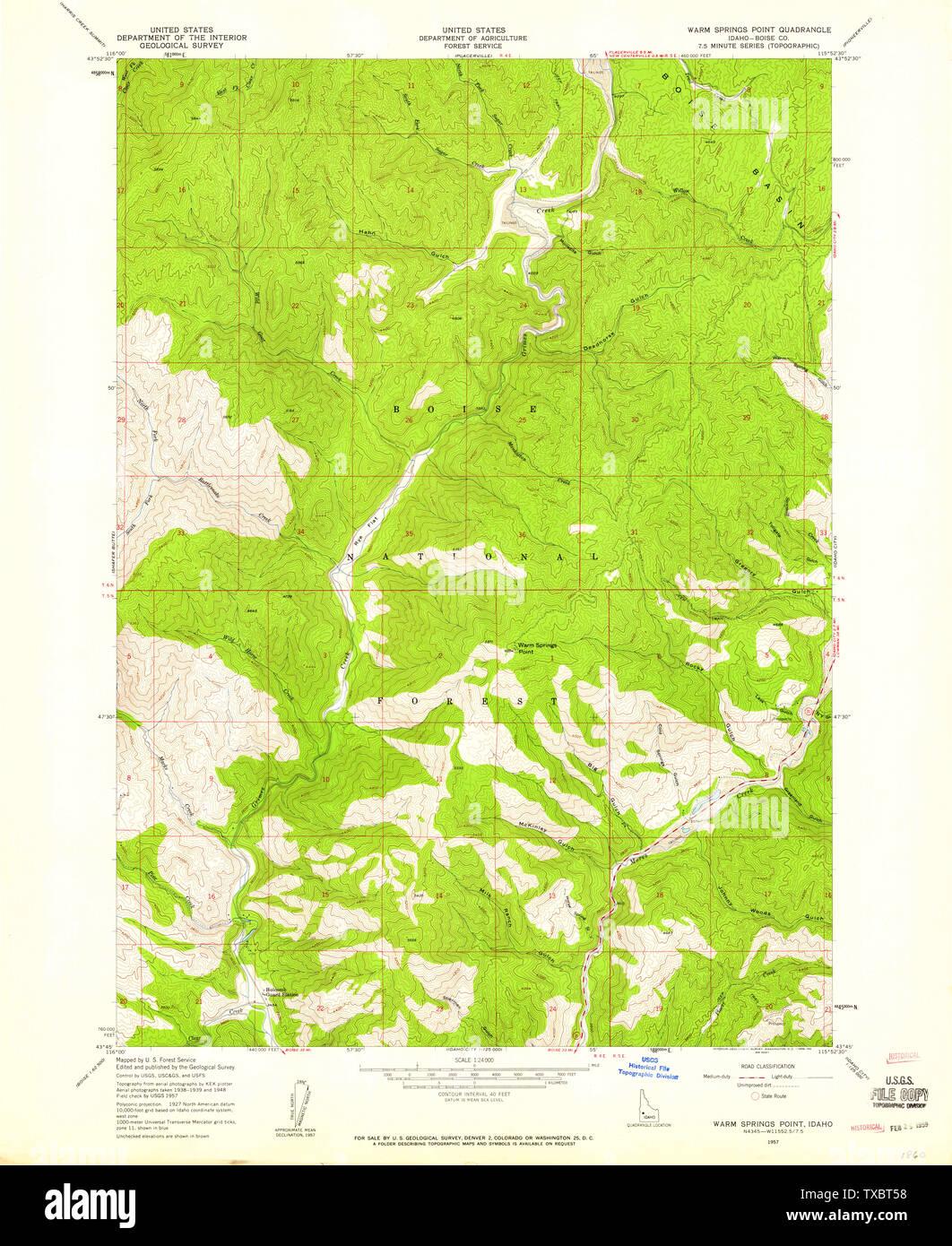 USGS TOPO Map Idaho ID Warm Springs Point 238693 1957 24000 ...