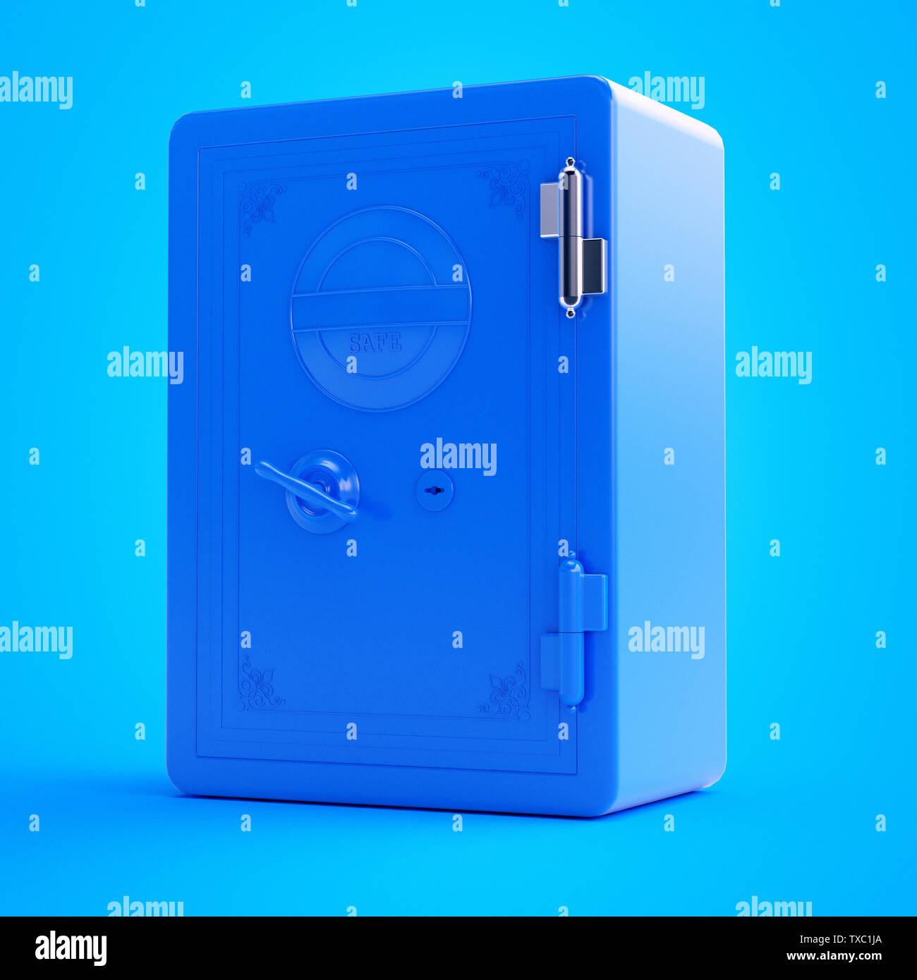 3d rendered illustration of a blue safe - Stock Image