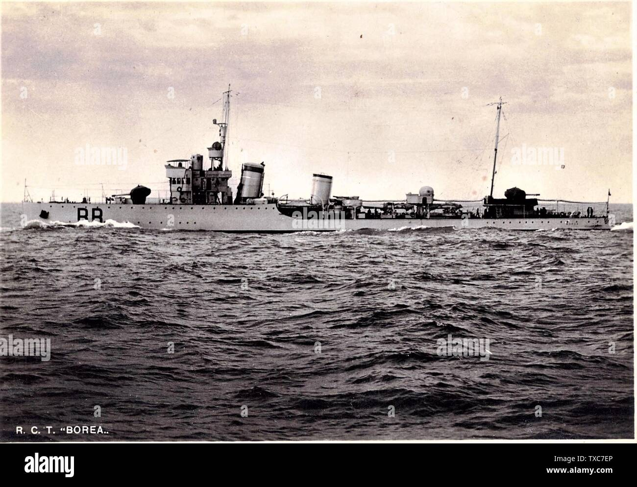 'The destroyer Borea in navigation.; 1930s date QS:P,+1930-00-00T00:00:00Z/8; it.Wikipedia; unattributed; ' - Stock Image