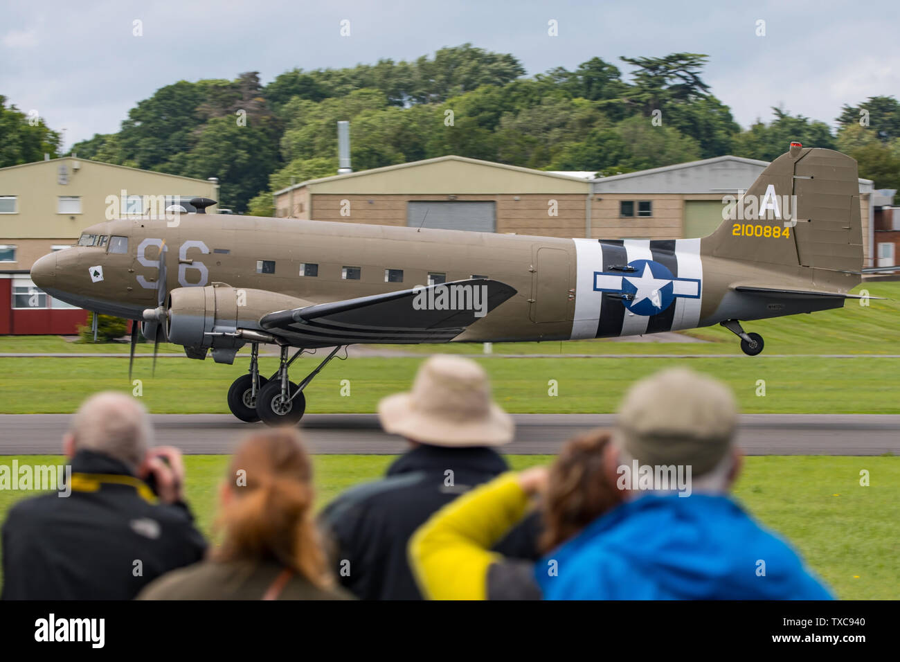 Douglas C-47 Skytrain WW2 transport aircraft about to take off and display at Dunsfold Aerodrome, UK for the last Wings & Wheels airshow on 16/6/19. - Stock Image