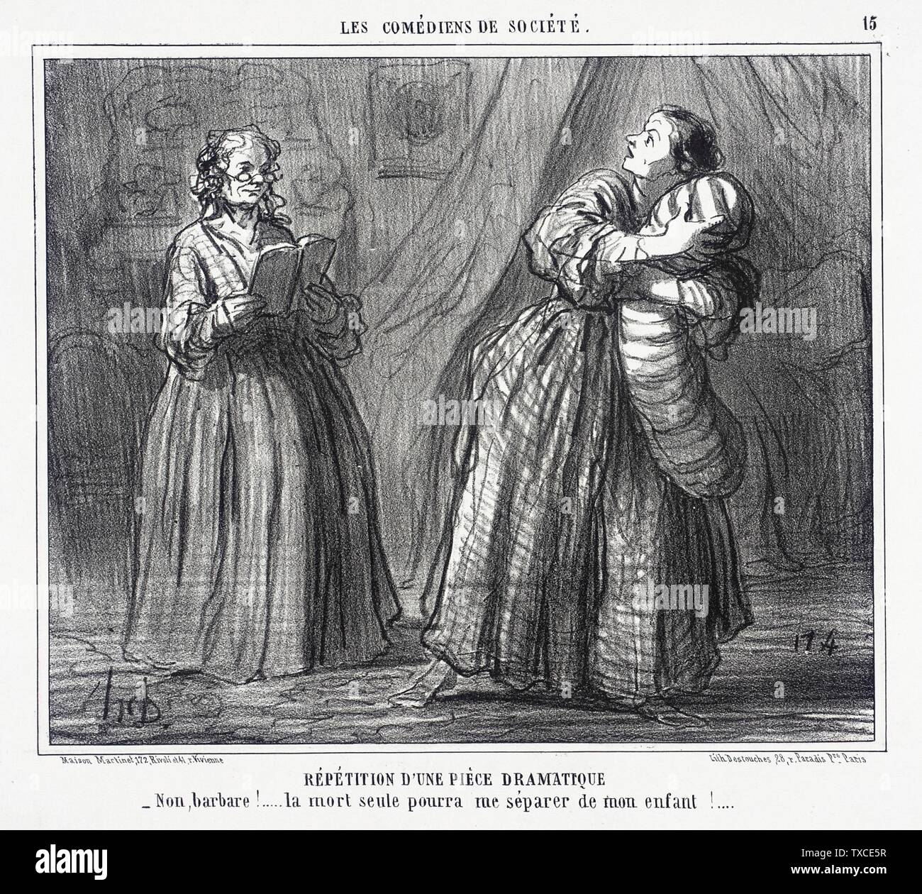 'Répétition d'une pièce dramatique; English:  France, 1858 Series: Les Comédiens de Société, no. 15 Periodical: Le Charivari, 14 May 1858 Prints; lithographs Lithograph Sheet: 8 1/4 x 9 13/16 in. (20.96 x 24.92 cm) Gift of Mrs. Florence Victor from The David and Florence Victor Collection (M.91.82.80) Prints and Drawings; 1858date QS:P571,+1858-00-00T00:00:00Z/9; ' - Stock Image