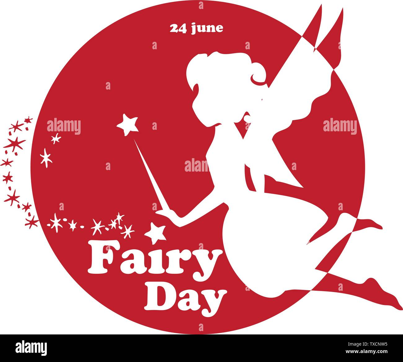 Label for Fairy Day. The holiday is celebrated on June 24 - Stock Vector