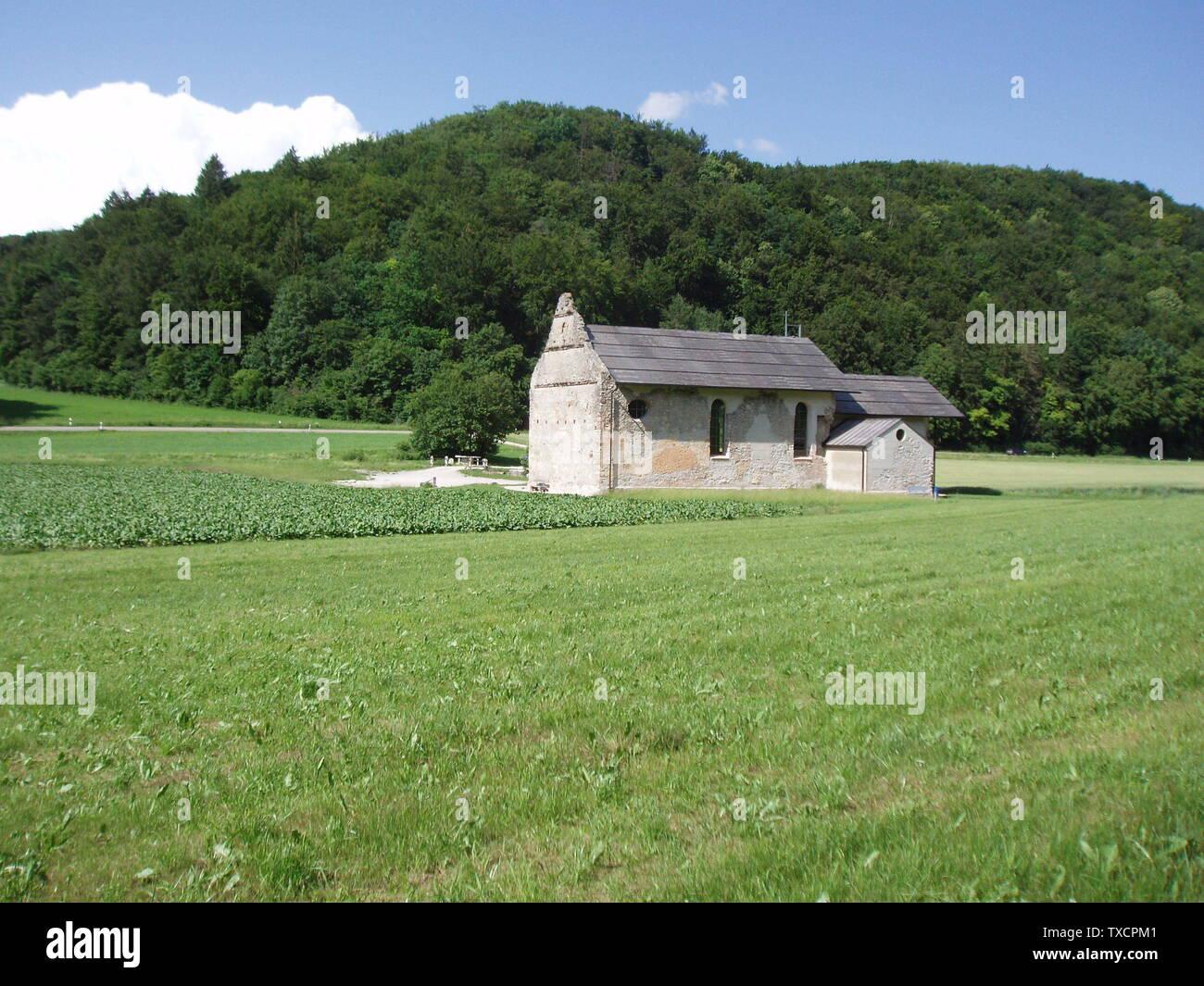 """""""Deutsch: Ruinenkirche Spindeltal, Lage aus südlicher Sicht; 16 June 2006; Self-photographed (Original text:  selbst fotografiert); KBWEi at German Wikipedia; """" Stock Photo"""