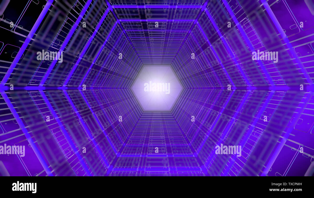 Futuristic background front view of a tunnel with hexagonal shape structure of purple and blue with white light in the background. 3D Illustration Stock Photo
