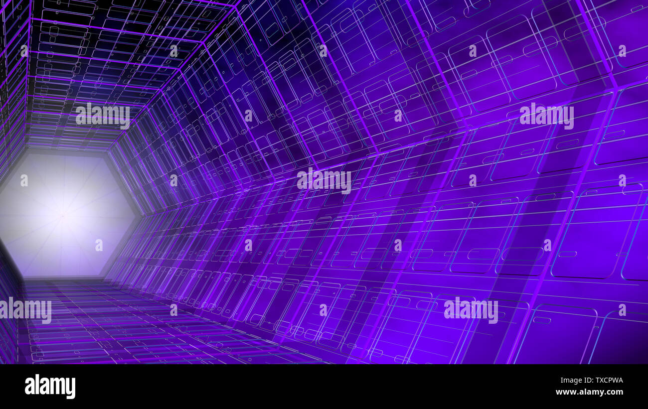 Futuristic background side view of a tunnel with hexagonal shape structure of purple and blue with white light in the background. 3D Illustration Stock Photo