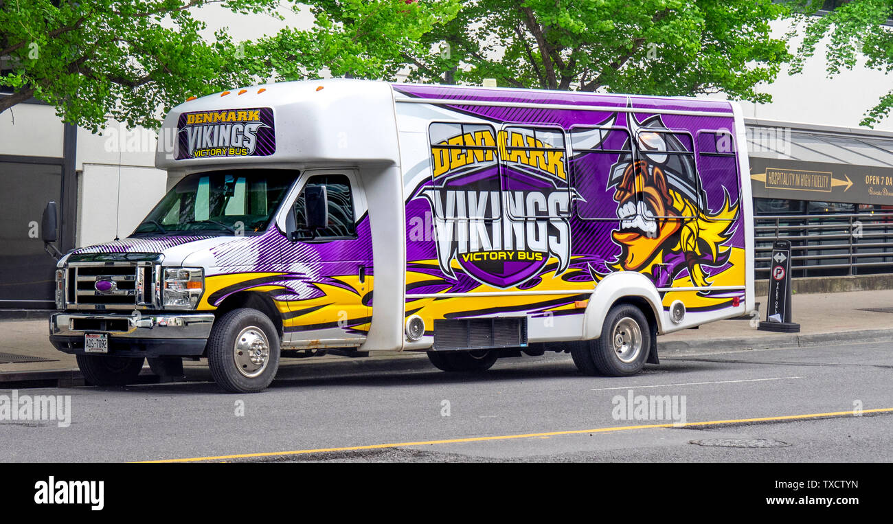 Denmark Vikings painted bus parked on the road at NFL Draft 2019