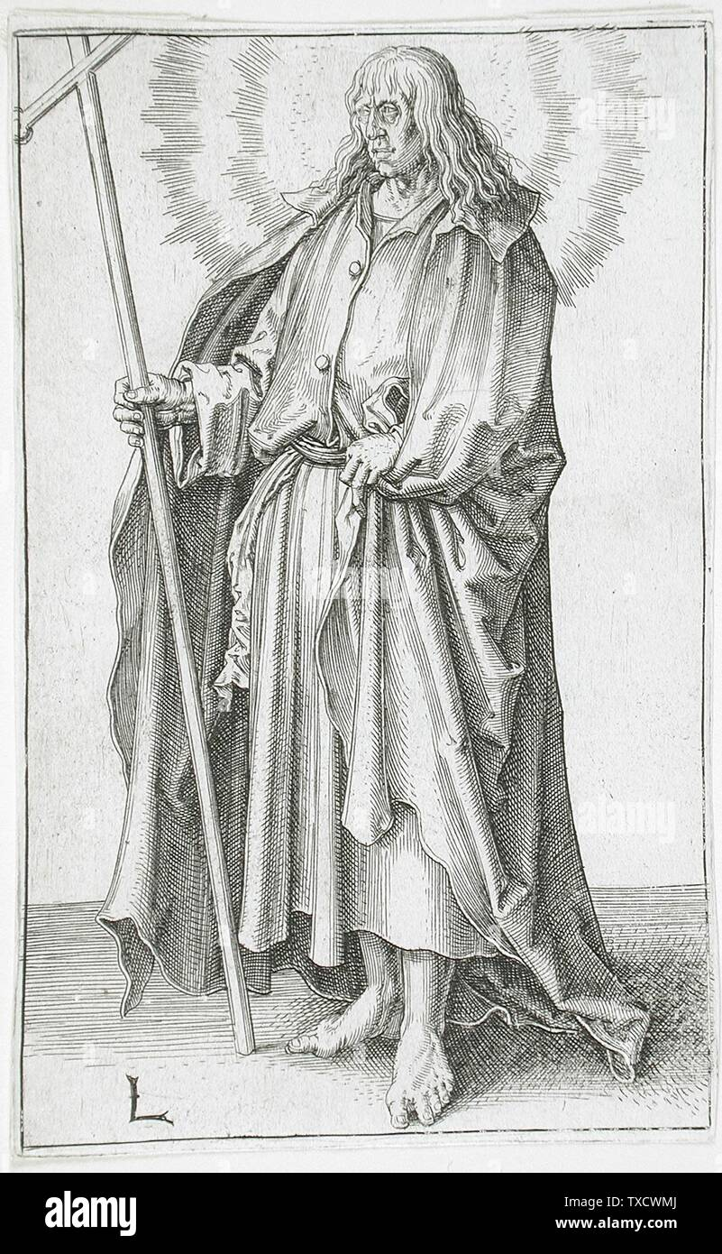 'Saint Philip; English:  Holland, circa 1510 Series: Christ, Paul and the Twelve Apostles, plate 10 Prints; engravings Engraving Gift of Dr. and Mrs. Robert G. Engel (M.77.166.2) Prints and Drawings; circa 1510 date QS:P571,+1510-00-00T00:00:00Z/9,P1480,Q5727902; ' - Stock Image