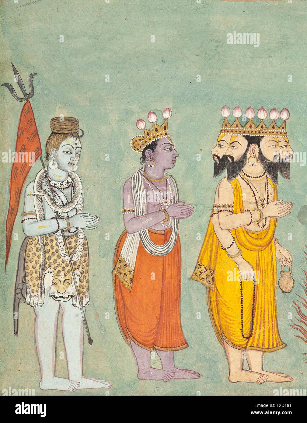 'Shiva, Vishnu, and Brahma Adoring Kali (image 2 of 7); English:  India, Himachal Pradesh, Basohli, circa 1740 Drawings; watercolors Opaque watercolor, gold, silver, and ink on paper Purchased with funds provided by Dorothy and Richard Sherwood and Indian Art Special Purpose Fund (M.80.101) South and Southeast Asian Art; circa 1740 date QS:P571,+1740-00-00T00:00:00Z/9,P1480,Q5727902; ' - Stock Image
