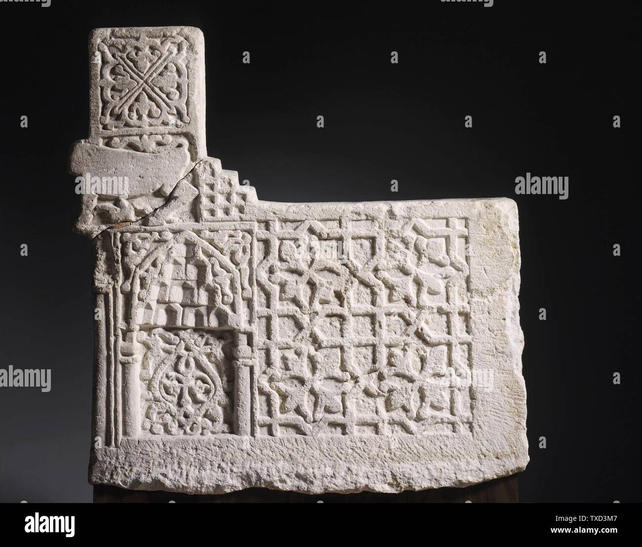 'Stair Riser (image 1 of 6); English:  Iran, 13th-early 14th century Architecture; Architectural Elements Limestone, carved The Nasli M. Heeramaneck Collection, gift of Joan Palevsky (M.73.5.5) Islamic Art Currently on public view: Ahmanson Building, floor 4; 13th-early 14th century; ' - Stock Image