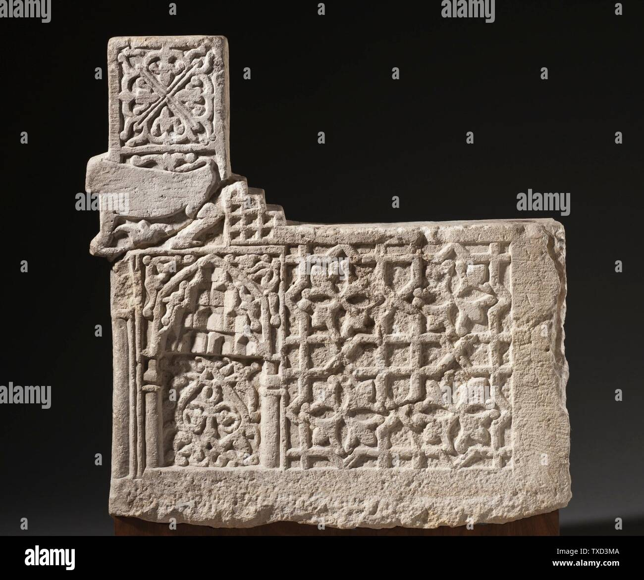 'Stair Riser (image 2 of 6); English:  Iran, 13th-early 14th century Architecture; Architectural Elements Limestone, carved The Nasli M. Heeramaneck Collection, gift of Joan Palevsky (M.73.5.5) Islamic Art Currently on public view: Ahmanson Building, floor 4; 13th-early 14th century; ' - Stock Image
