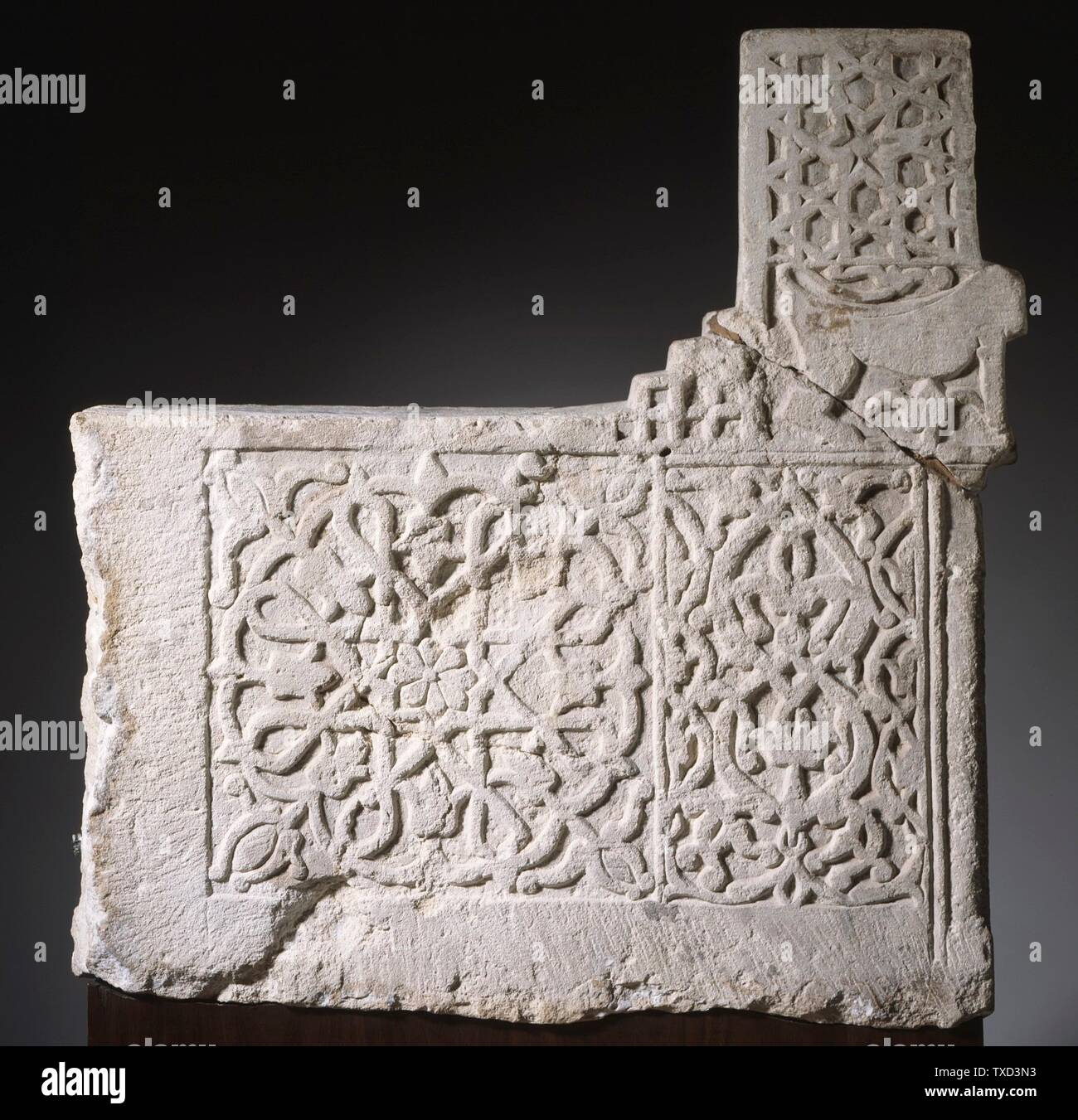 'Stair Riser (image 6 of 6); English:  Iran, 13th-early 14th century Architecture; Architectural Elements Limestone, carved The Nasli M. Heeramaneck Collection, gift of Joan Palevsky (M.73.5.5) Islamic Art Currently on public view: Ahmanson Building, floor 4; 13th-early 14th century; ' - Stock Image