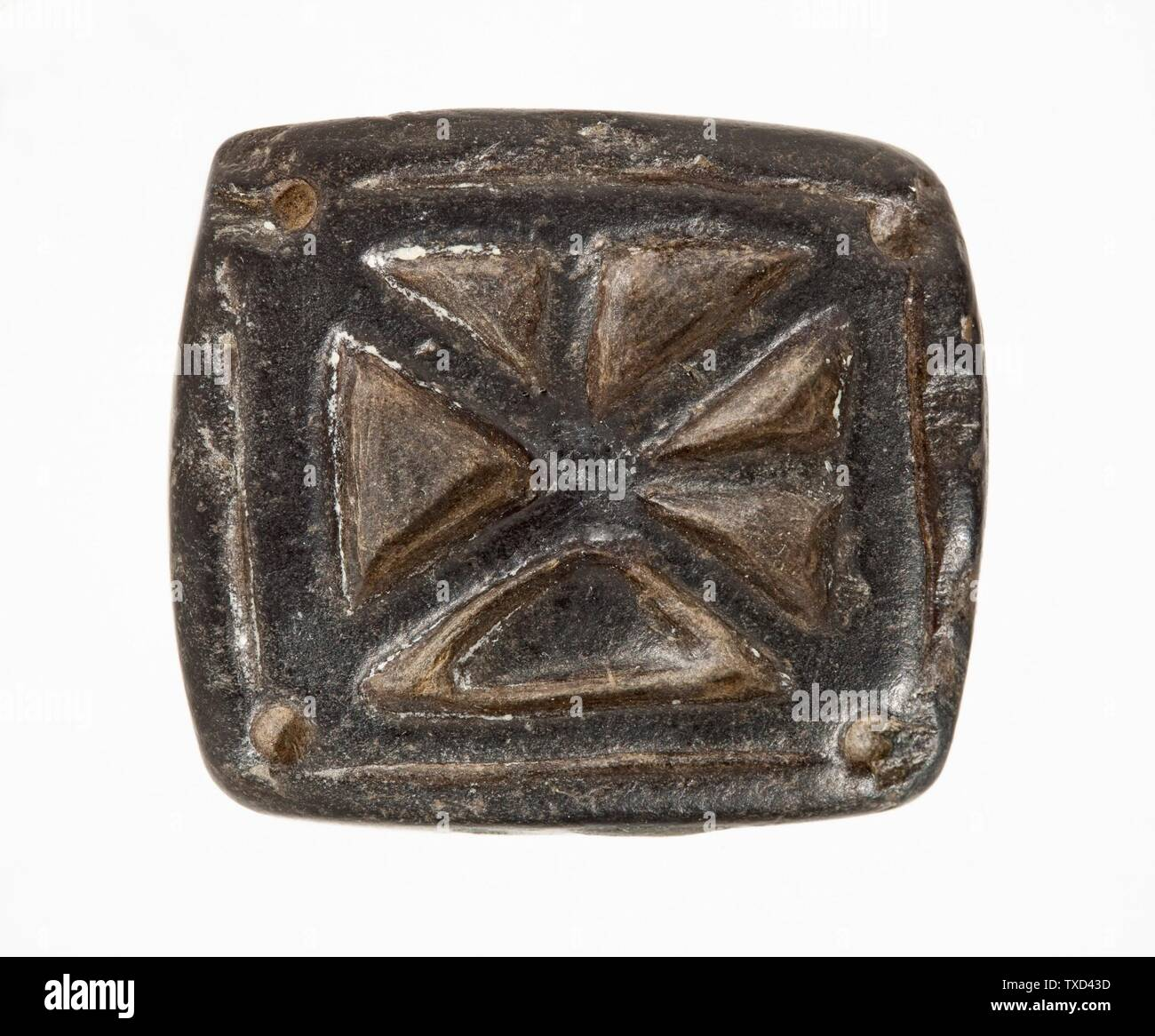 """""""Stamp Seal, Tabloid (image 2 of 2); Tools and Equipment; seals Black serpentine Height:  7/16 in. (1 cm); Width:  1 5/16 in. (3.3 cm); Length:  1 1/2 in. (3.7 cm) Gift of Nasli M. Heeramaneck (M.76.174.572) Art of the Ancient Near East; circa 2nd millennium B.C.; """" Stock Photo"""