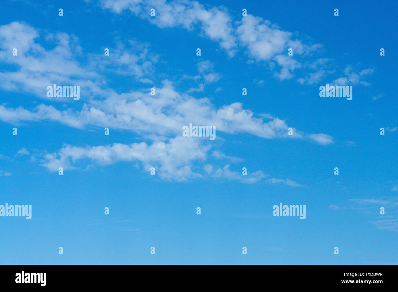 Beautiful cirrus clouds on bright blue sky. - Stock Image