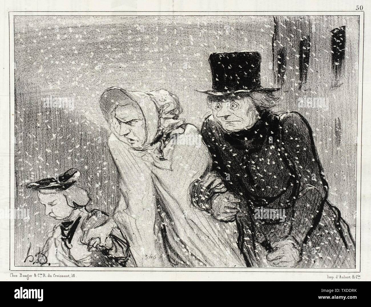 """""""Tu m'embêtes, mon épouse!...v'là une heure...; English:  France, 1843 Series: Types Parisiens Periodical: Le Charivari, 12 January 1843 Prints; lithographs Lithograph Sheet: 7 3/4 x 9 1/16 in. (19.69 x 23.02 cm) Gift of Mrs. Florence Victor from The David and Florence Victor Collection (M.91.82.105) Prints and Drawings; 1843date QS:P571,+1843-00-00T00:00:00Z/9; """" Stock Photo"""