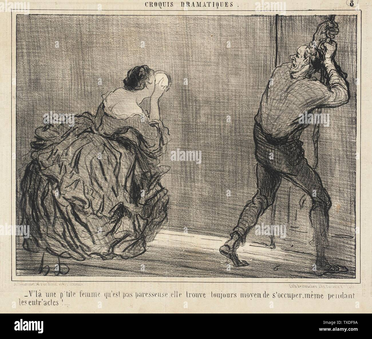"""""""V'là une p'tite femme qu'est pas paresseuse...; English:  France, 1857 Series: Croquis dramatiques, no. 8 Periodical: Le Charivari, 7 January 1857 Prints; lithographs Lithograph Sheet: 8 x 10 3/8 in. (20.32 x 26.35 cm) Gift of Mrs. Florence Victor from The David and Florence Victor Collection (M.91.82.298) Prints and Drawings; 1857date QS:P571,+1857-00-00T00:00:00Z/9; """" Stock Photo"""