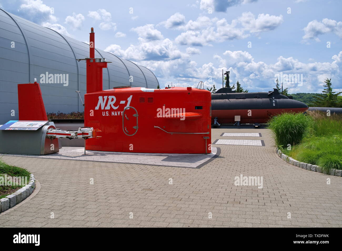 Submarine Force Museum, Groton CT USA, Jun 2019. Building and entrance with actual submarines of the past on display. - Stock Image