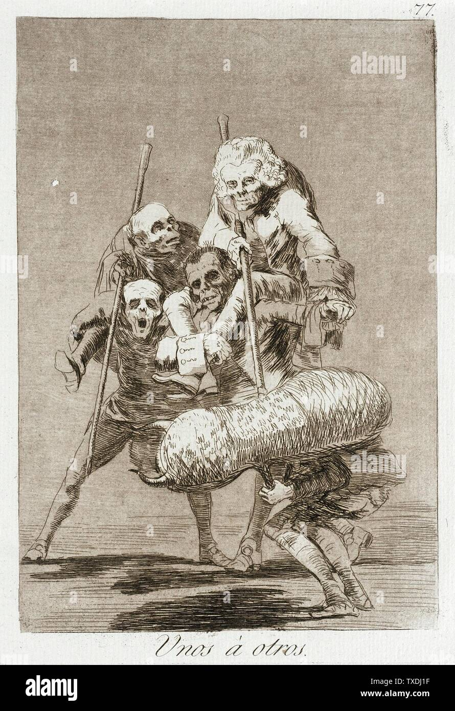 'What one does to another; English:  Spain, 1799 Alternate Title: Unos á Otros Portfolio: Los Caprichos, plate 77 Prints; etchings Etching, burnished aquatint, drypoint and burin Paul Rodman Mabury Trust Fund (63.11.77) Prints and Drawings; 1799date QS:P571,+1799-00-00T00:00:00Z/9; ' - Stock Image
