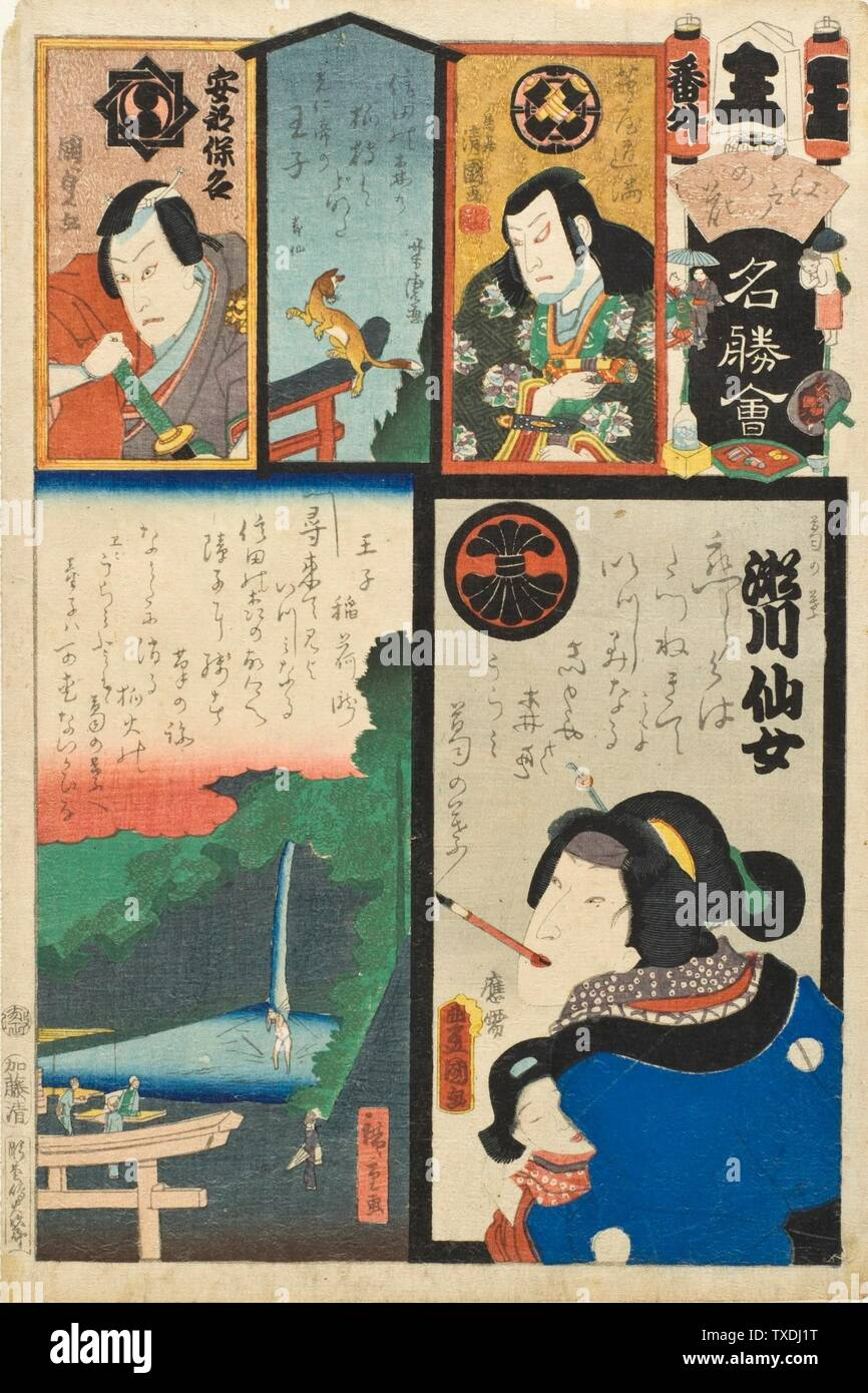 """""""Waterfall at Ōji; The Actor Segawa Senjo in the Role of Kuzunoha; English:  first month, 1863 Series: Flowers of Edo with Views of Famous Places Prints; woodcuts Color woodblock print Image:  13 1/2 x 8 5/8 in. (34.29 x 21.91 cm) irregular; Sheet:  14 1/16 x 9 5/16 in. (35.72 x 23.65 cm) Gift of Arthur and Fran Sherwood (M.2007.152.49) Japanese Art; Published  in 1863; """" Stock Photo"""