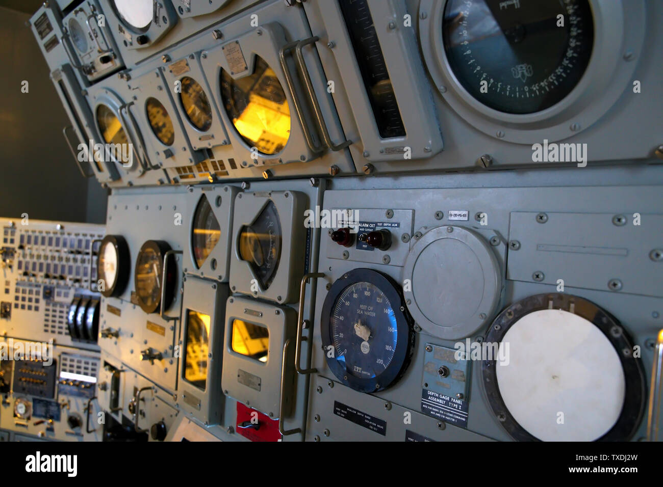 Submarine Force Museum, Groton CT USA, Jun 2019. Control Station of a nuclear powered ballistic missile submarine. - Stock Image