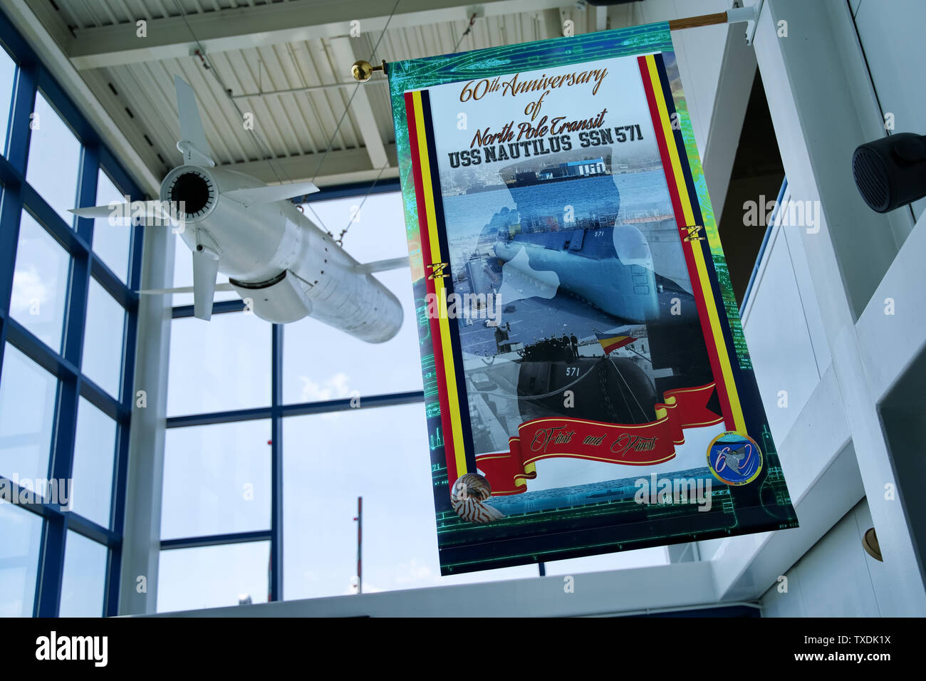 Submarine Force Museum, Groton CT USA, Jun 2019. Inside with photos, exhibits, and replicas leading to the evolution of the modern attack submarine. - Stock Image