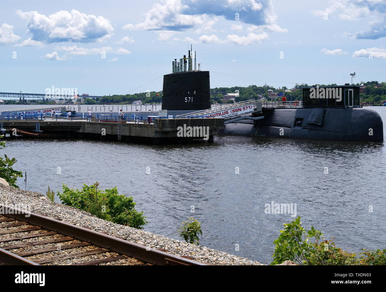 Submarine Force Museum, Groton CT USA, Jun 2019. The world`s first nuclear powered submarine the USS Nautilus is part of the Submarine Force Museum. - Stock Image